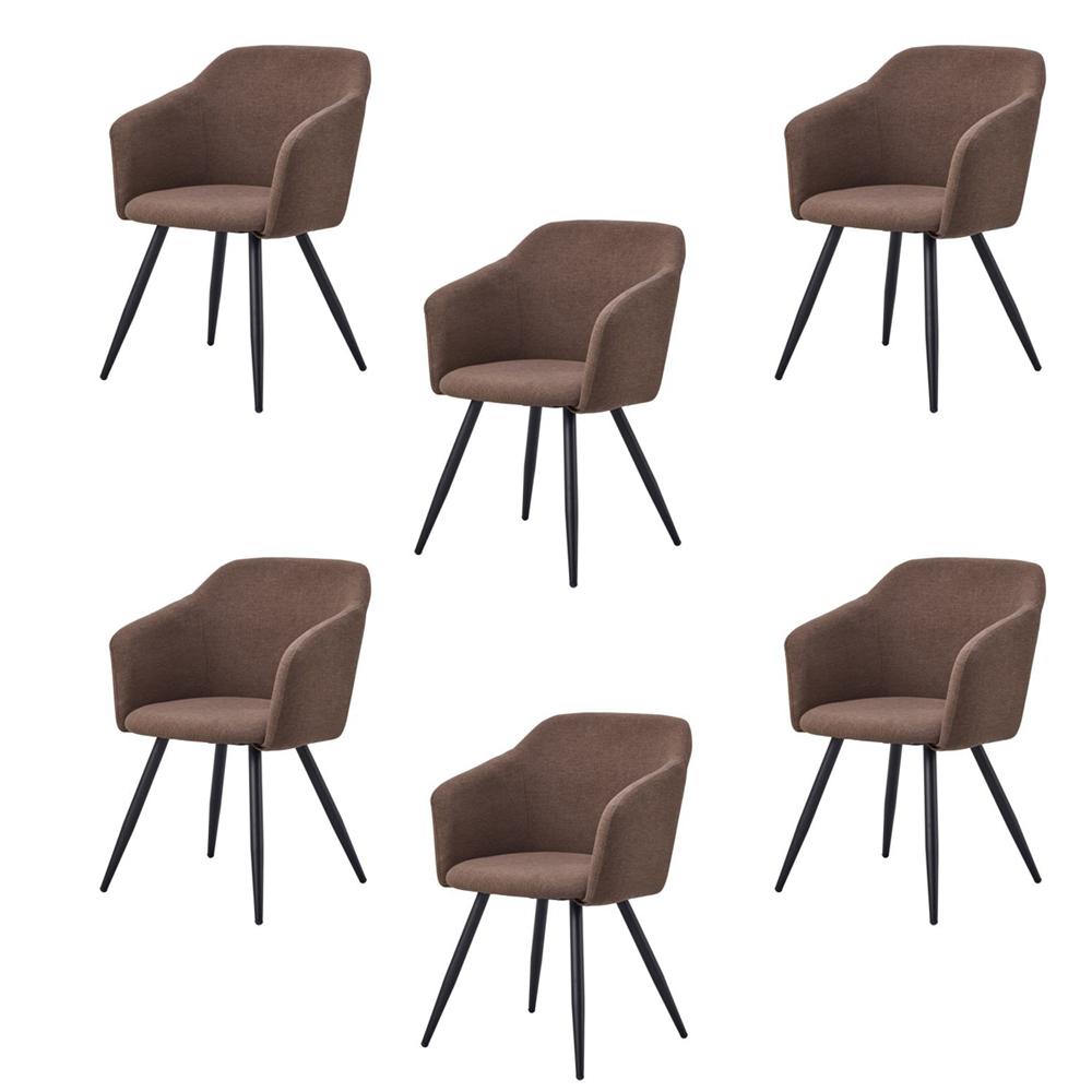 Купить Набор из шести стульев с обивкой из ткани коричневого цвета, inmyroom, Китай