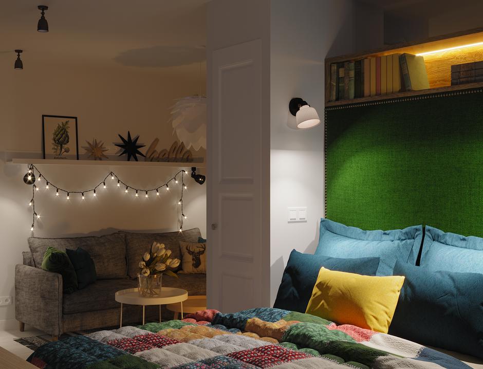 Фотография: Спальня в стиле Скандинавский, Квартира, Проект недели, Московская область, 1 комната, до 40 метров, Ира Носова – фото на InMyRoom.ru