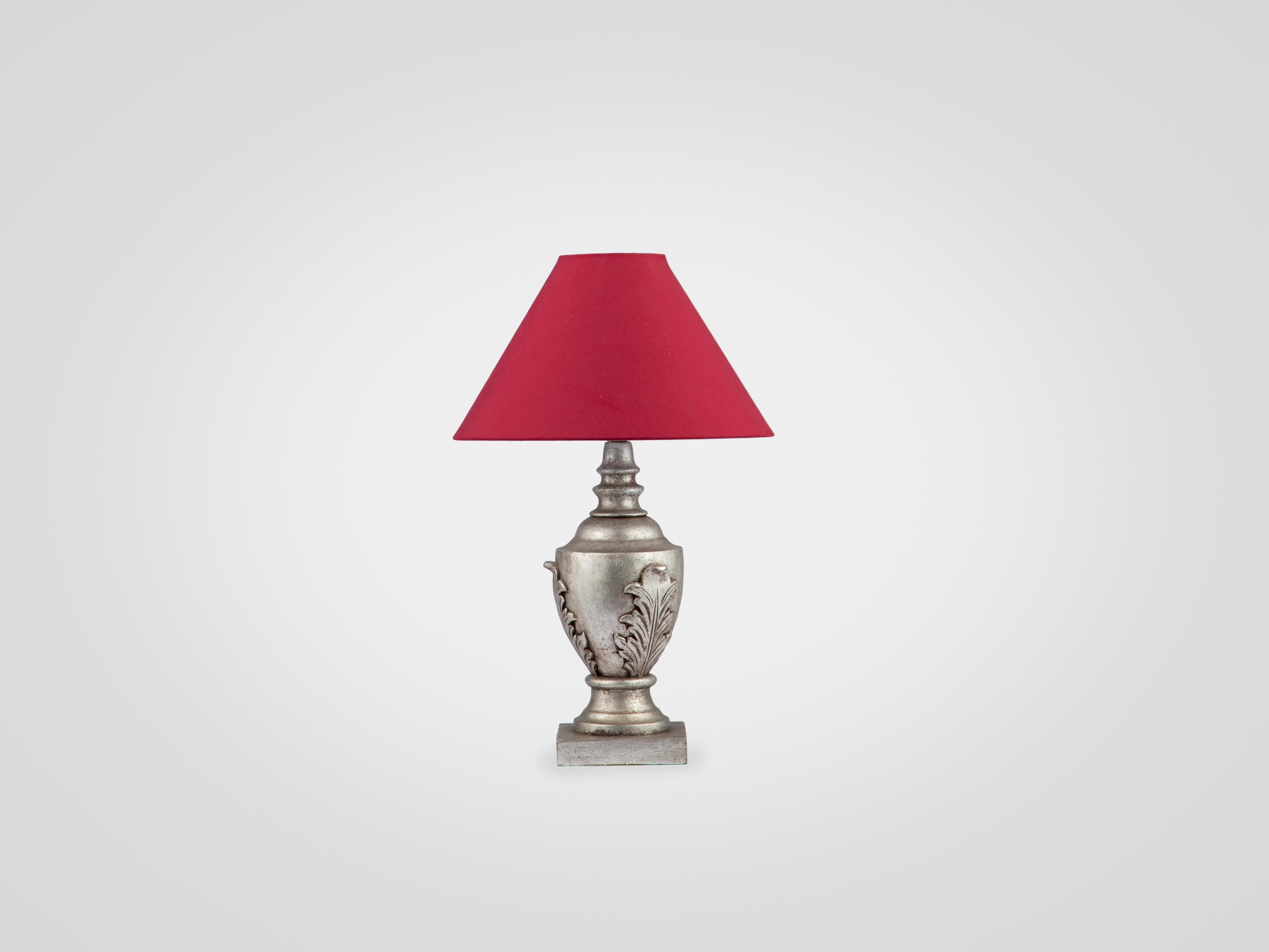 Купить Лампа настольная на ножке из дерева махагони с красным абажуром, inmyroom, Индонезия