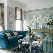 Фотография: Гостиная в стиле , Декор интерьера, Дизайн интерьера, Цвет в интерьере, Белый, Серый, Бирюзовый – фото на InMyRoom.ru