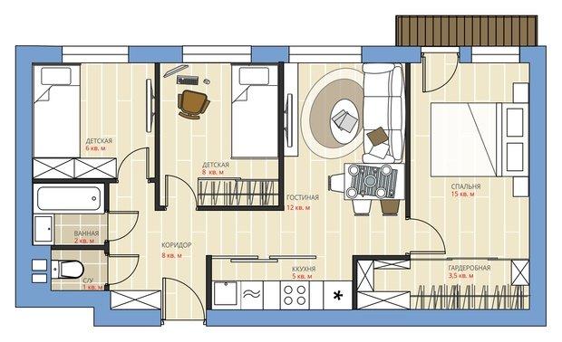 Фотография:  в стиле , Перепланировка, Анастасия Киселева, Максим Джураев, Панельный дом, 3 комнаты, 40-60 метров, 1-515/9м – фото на InMyRoom.ru