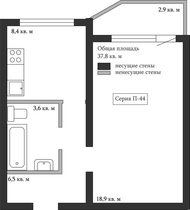 Фотография:  в стиле , Перепланировка, Анастасия Киселева, Максим Джураев, однушка для семьи, П-44, П-55М, И-700А – фото на InMyRoom.ru
