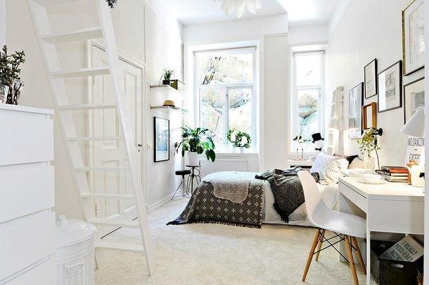 Фотография: Спальня в стиле Скандинавский, Гостиная, Детская, Квартира, Планировки, Советы, идеи для малогабаритки, 1 комната, до 40 метров – фото на INMYROOM