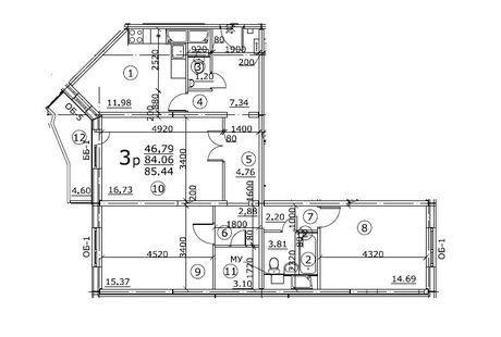 Нужен проект трёхкомнатной квартиры 85 кв. метров