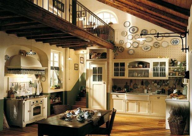 Просторная кухня в стиле кантри