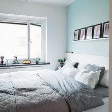 Фотография: Спальня в стиле Скандинавский, Современный, Малогабаритная квартира, Квартира, Дома и квартиры, Гардероб, Принт, Библиотека, Окна – фото на InMyRoom.ru