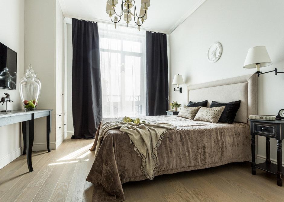 Фотография: Спальня в стиле Классический, Современный, Квартира, Проект недели, Москва, Монолитный дом, 2 комнаты, 60-90 метров, Елена Лазутина – фото на InMyRoom.ru