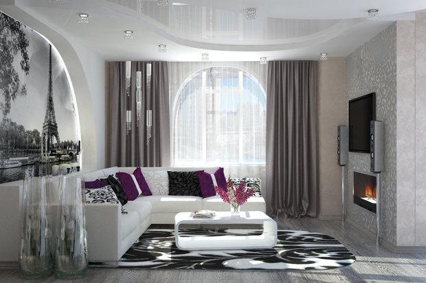 Фотография: Гостиная в стиле Хай-тек, Декор интерьера, Декор, текстиль в интерьере, декор окна, выбор штор для интерьера – фото на InMyRoom.ru