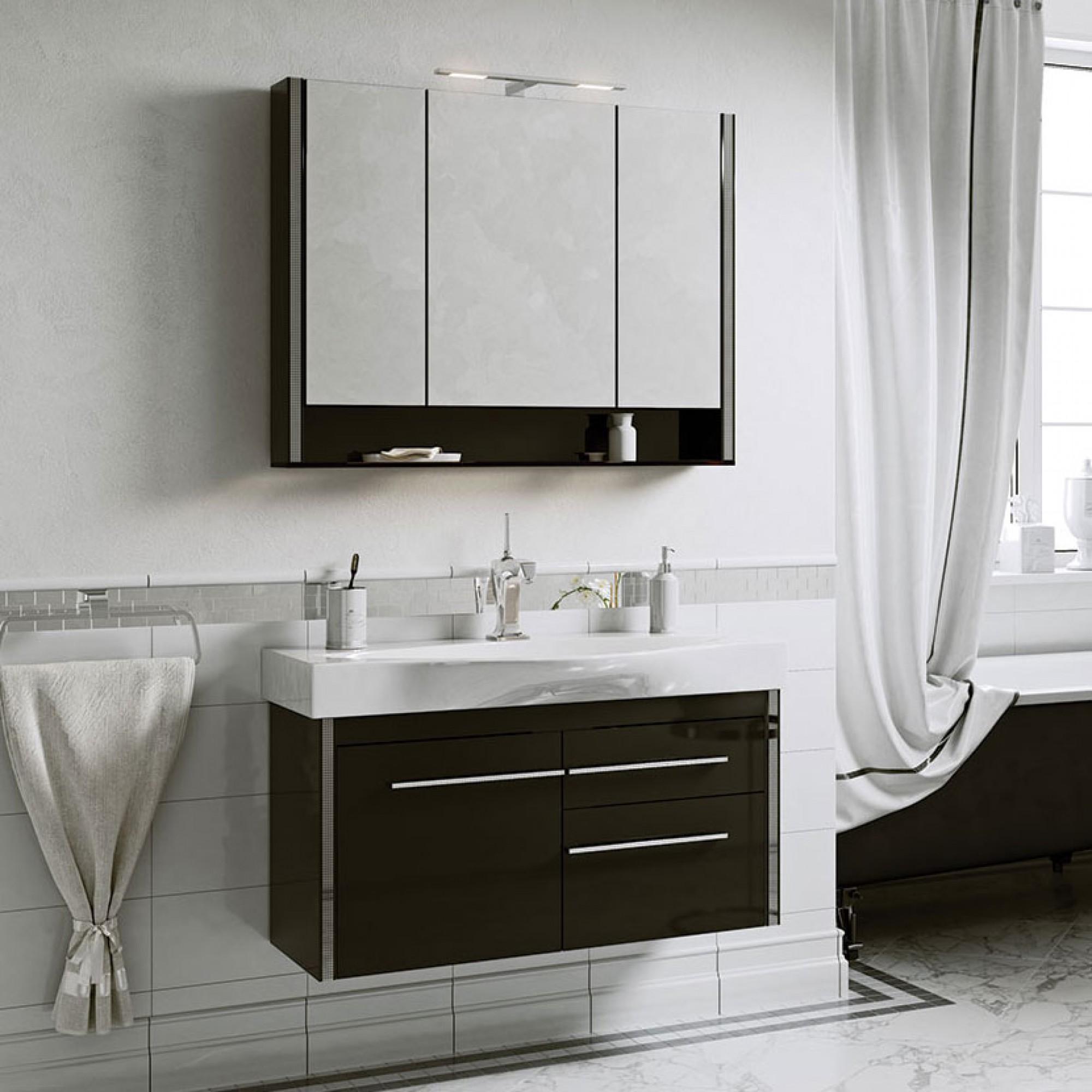 Гарнитур Layra 100 (шкаф зеркальный, тумба с раковиной) черный фантом