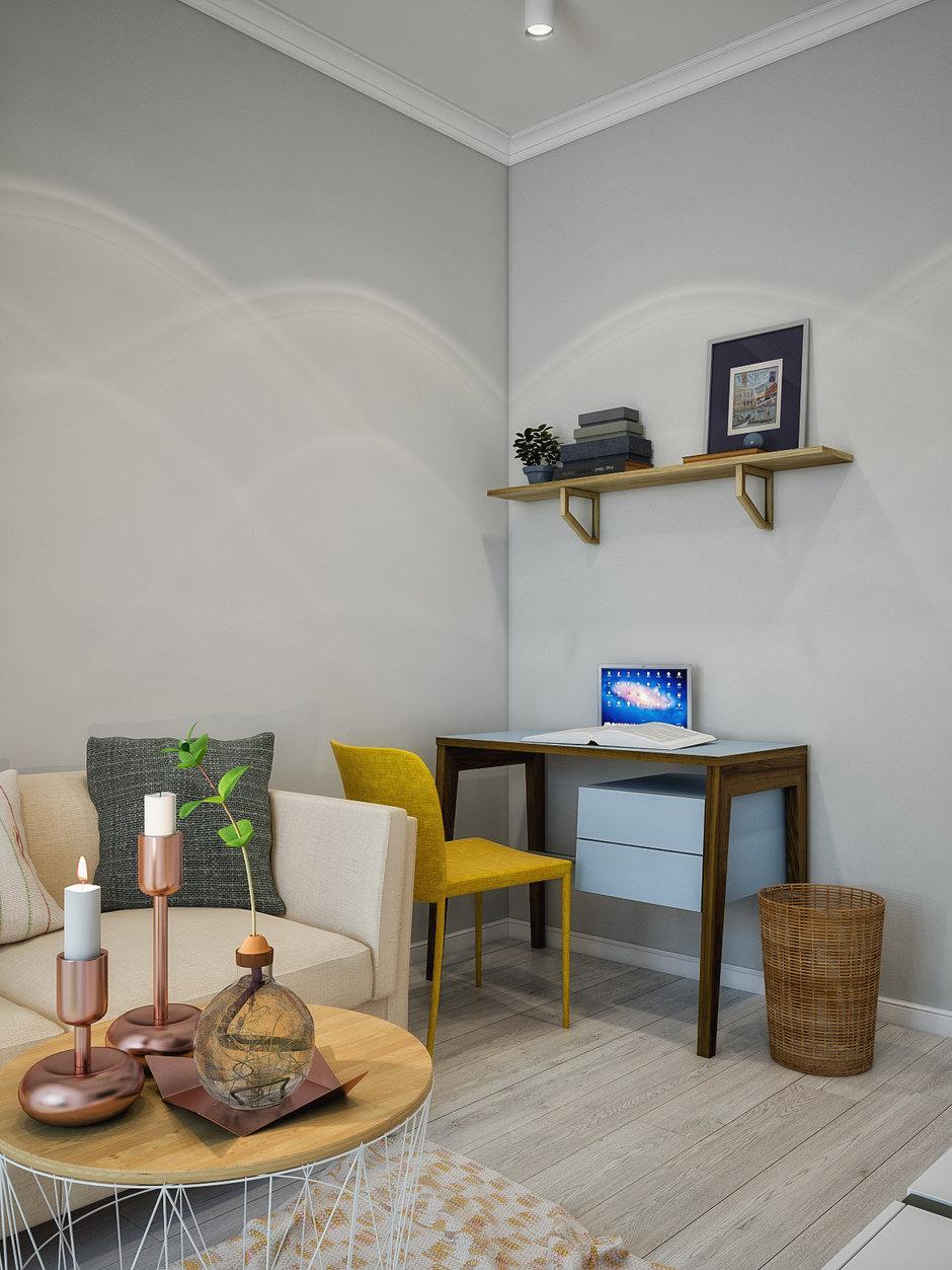 Фотография: Кабинет в стиле Скандинавский, Квартира, Проект недели, Москва, 4 и больше, 60-90 метров, «Точка дизайна» – фото на InMyRoom.ru