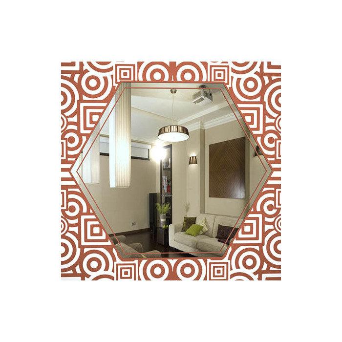 "Зеркало с красно-коричневым узором ""Ацтеки"""