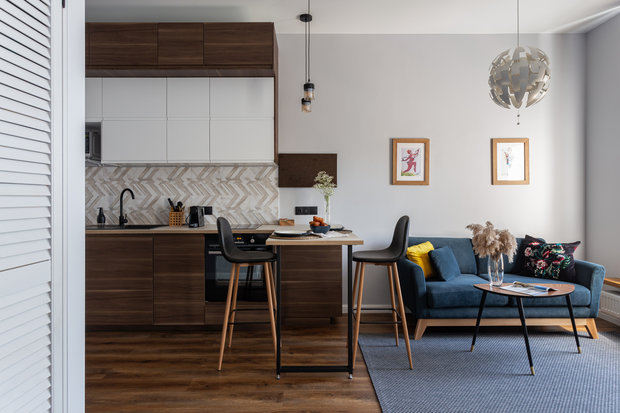 Фотография: Кухня и столовая в стиле Современный, Малогабаритная квартира, Студия, Проект недели, Москва, до 40 метров – фото на INMYROOM