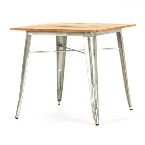Обеденный стол Marais из гальванизированной стали со столешницей из тикового дерева