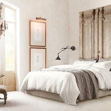 Фотография: Спальня в стиле Кантри, Декор интерьера, Офисное пространство, Интерьер комнат, Restoration Hardware, Мебель и свет, Цвет в интерьере, Бежевый – фото на InMyRoom.ru