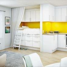 Фотография: Гостиная в стиле Современный, Кухня и столовая, Малогабаритная квартира, Интерьер комнат – фото на InMyRoom.ru