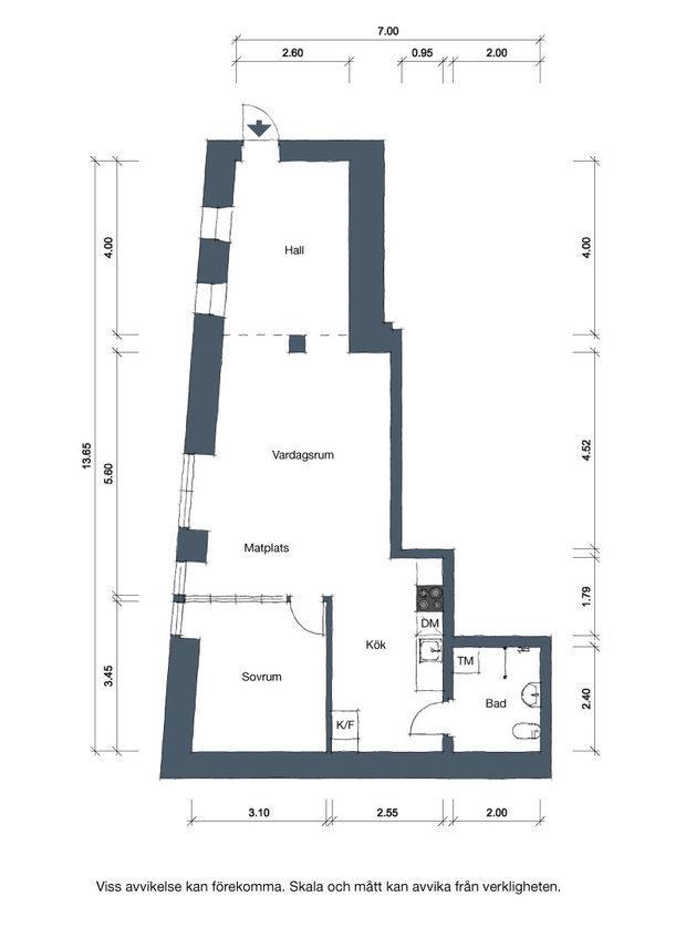 Фотография: Планировки в стиле , Лофт, Декор интерьера, Швеция, Белый, Черный, Стокгольм, 2 комнаты, 40-60 метров – фото на InMyRoom.ru