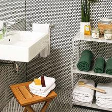 Фотография: Ванная в стиле Современный, Эко, Малогабаритная квартира, Квартира, Цвет в интерьере, Дома и квартиры, Зеленый – фото на InMyRoom.ru