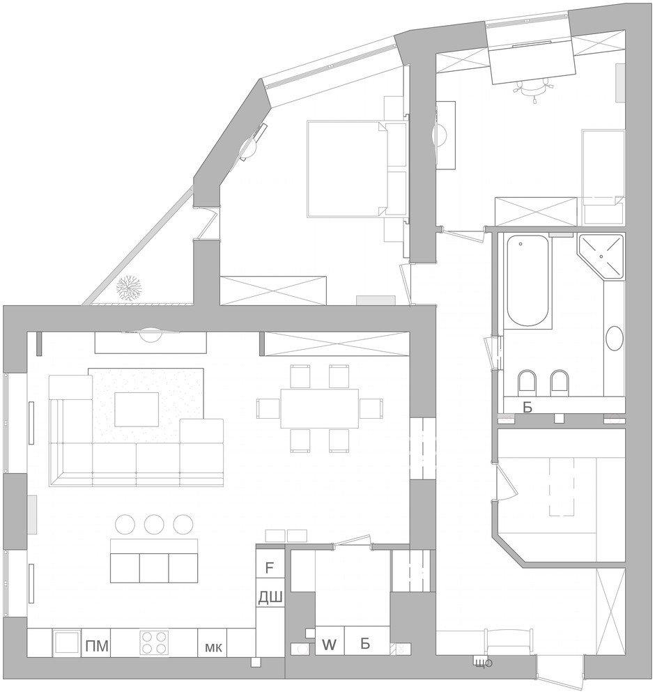 Фотография: Планировки в стиле , Квартира, Проект недели, 2 комнаты, Более 90 метров, Монолитно-кирпичный, Киевская область, Руслан Ковальчук, ЖК «Чайка», Artpartner – фото на InMyRoom.ru