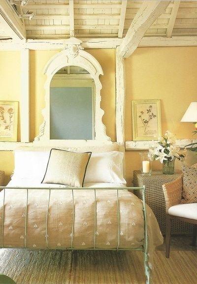 Фотография: Спальня в стиле Прованс и Кантри, Советы, Зеленый, Желтый, Синий, Серый, Голубой – фото на InMyRoom.ru