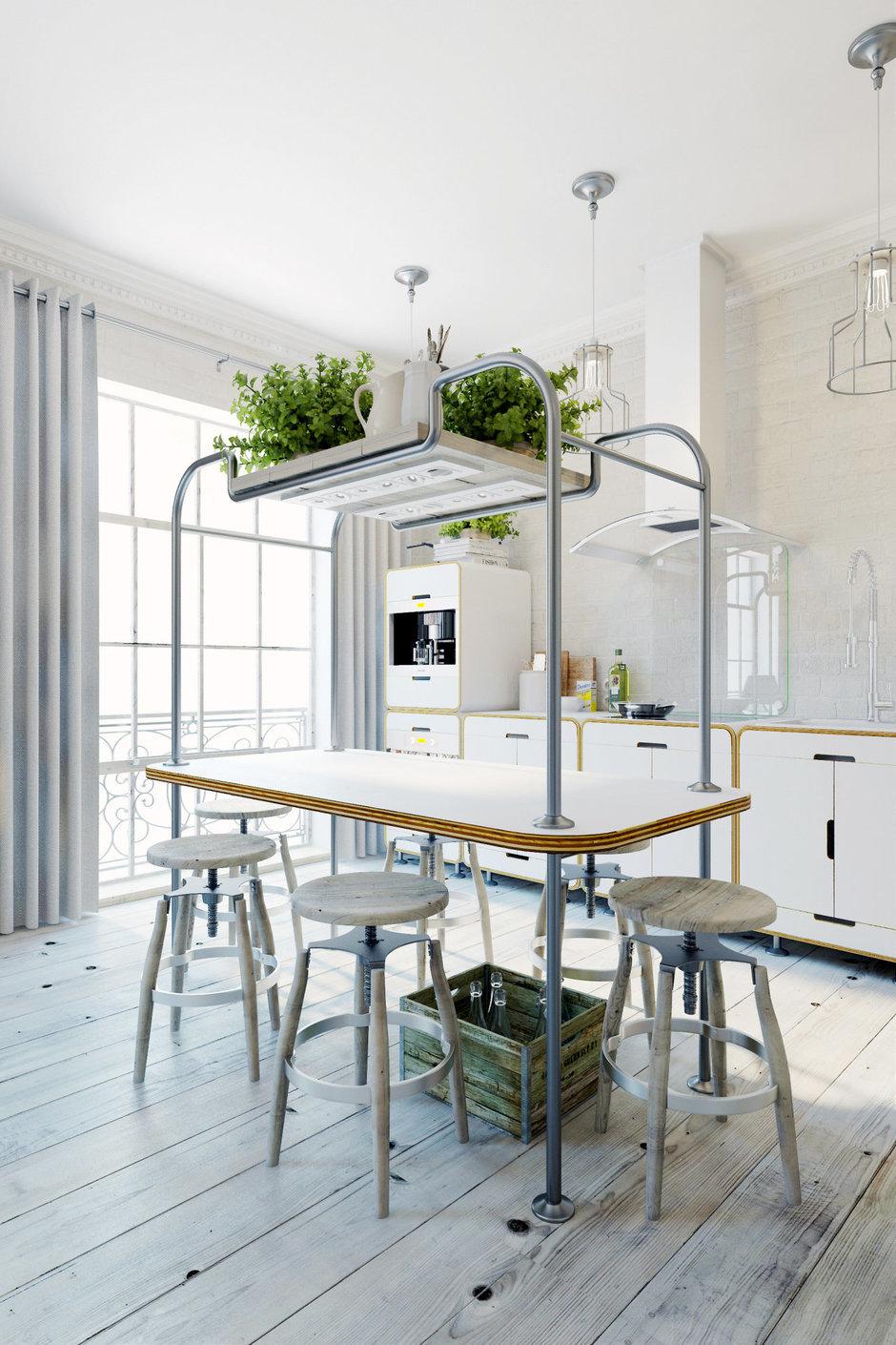 Фотография: Кухня и столовая в стиле Лофт, Квартира, Цвет в интерьере, Дома и квартиры, Белый – фото на InMyRoom.ru