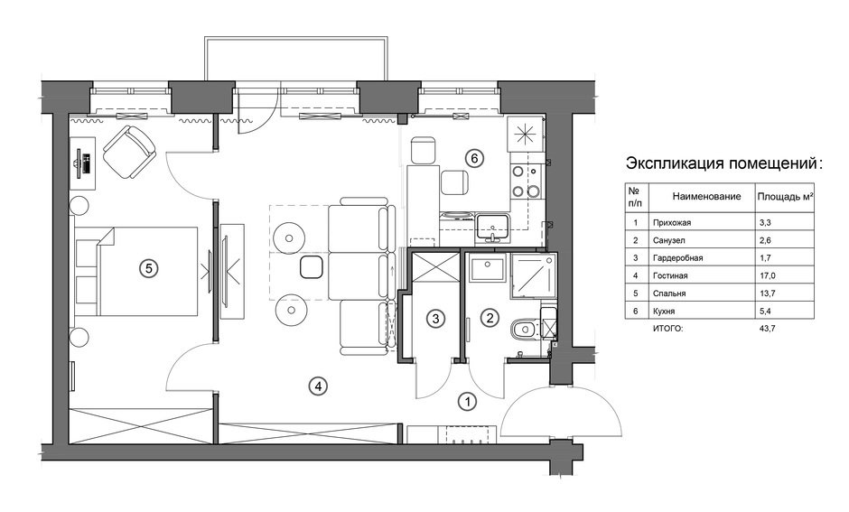 Фотография: Планировки в стиле , Малогабаритная квартира, Квартира, Проект недели, Москва, Кирпичный дом, 2 комнаты, 40-60 метров, I-511 – фото на InMyRoom.ru