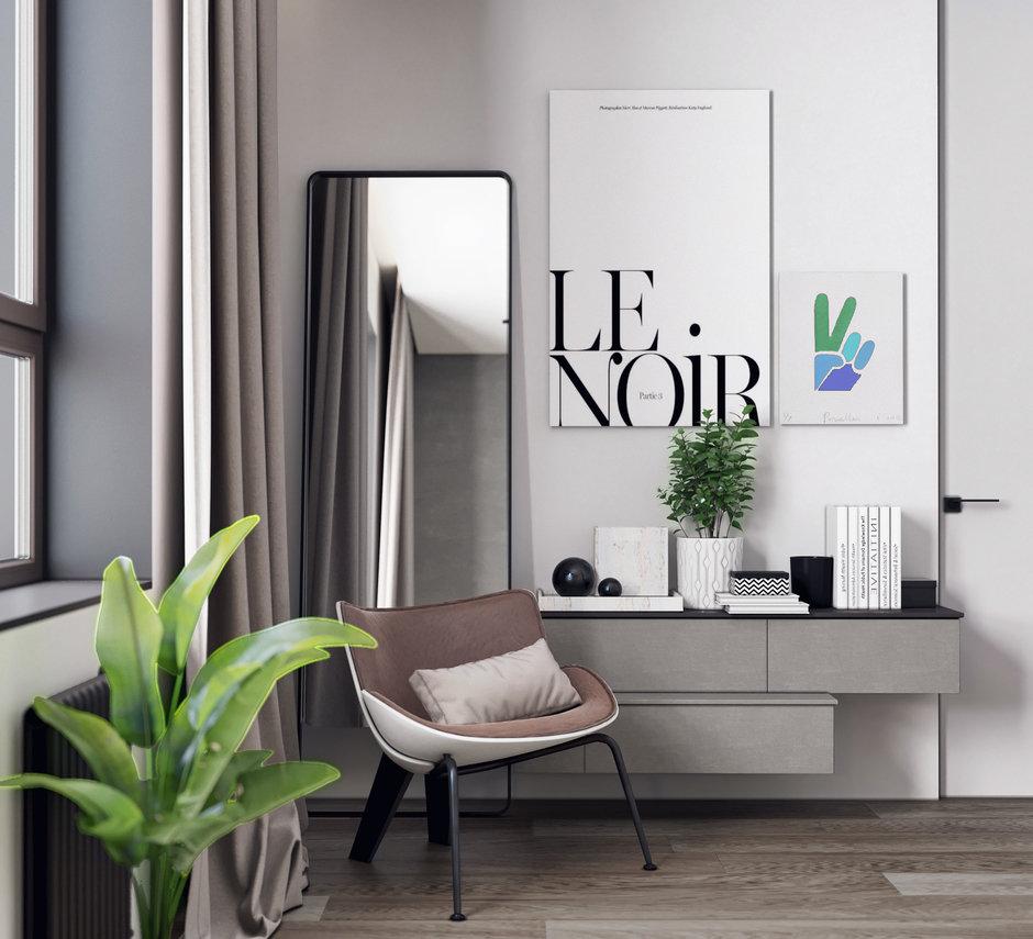 Фотография: Спальня в стиле Минимализм, Скандинавский, Квартира, Проект недели, Москва, Монолитный дом, Quadro room, 3 комнаты, Более 90 метров – фото на InMyRoom.ru