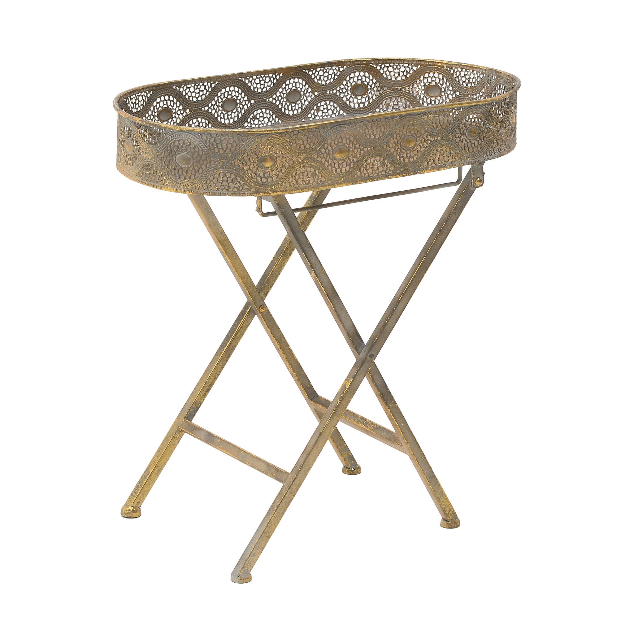 Столик поднос из металла золотого цвета
