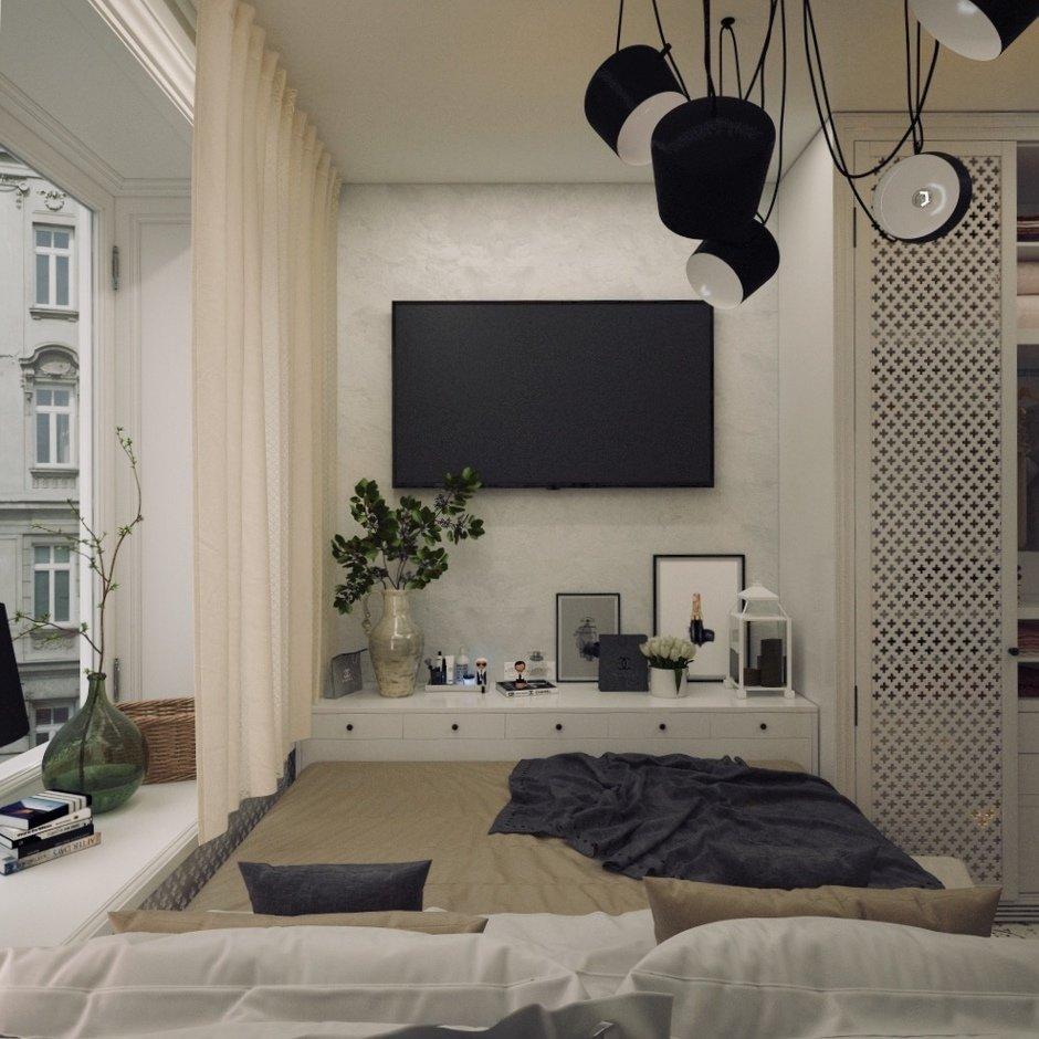 Фотография: Спальня в стиле Скандинавский, Квартира, Проект недели, Блочный дом, 2 комнаты, 40-60 метров, Юлия Штыкина, Ла Корунья – фото на InMyRoom.ru