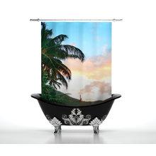 Шторы в ванну: Пальма на пляже