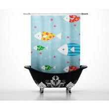 Дизайнерские шторы для ванной: Косяк милых рыб