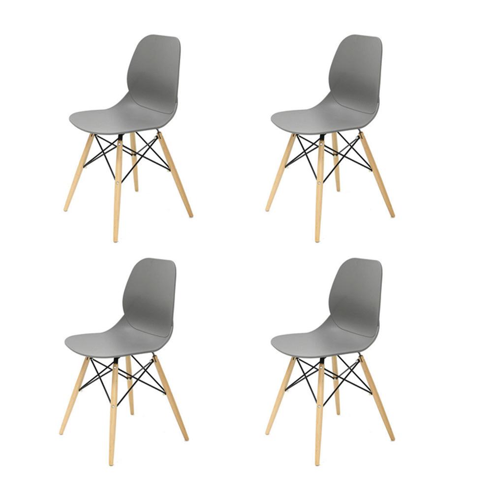 Купить Набор из четырех стульев на деревянных ножках серого цвета, inmyroom, Китай