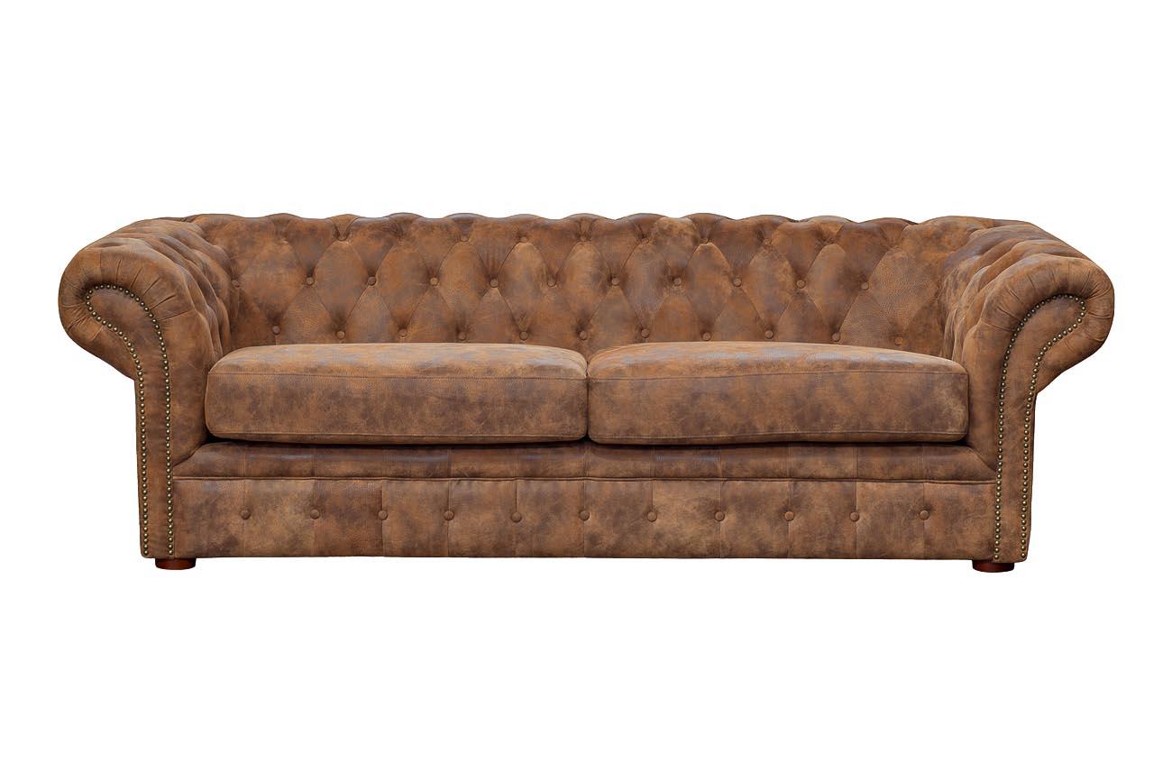 Купить со скидкой Диван кожаный трехместный коричневый