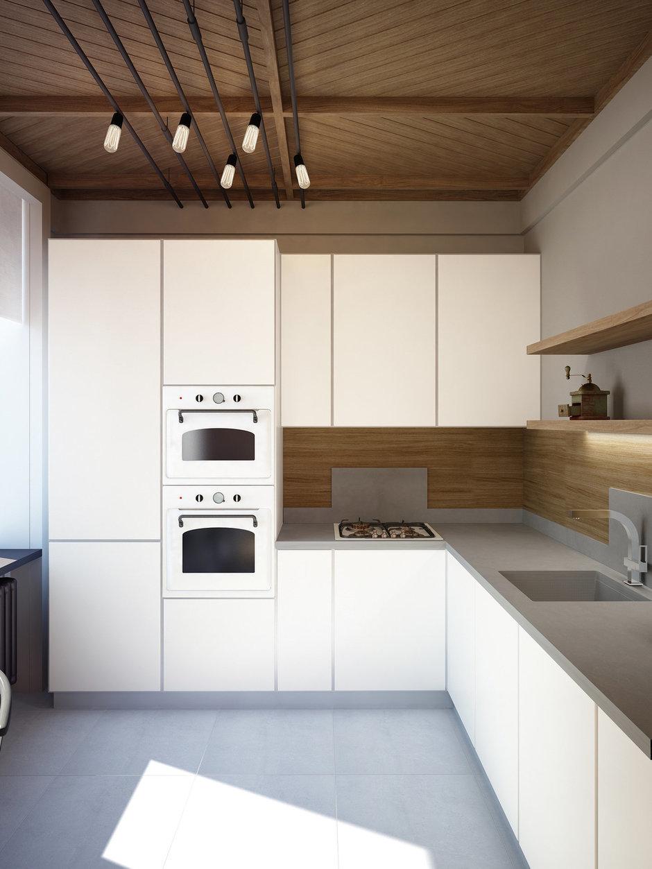 Фотография: Кухня и столовая в стиле Минимализм, Лофт, Квартира, Планировки, Проект недели, Сталинка – фото на InMyRoom.ru