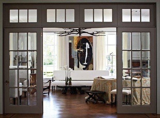 Стеклянные раздвижные двери с фрамугами, перегородки