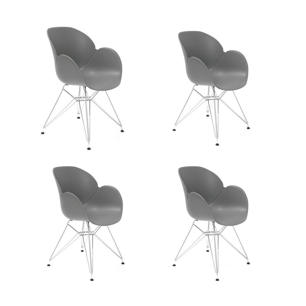 Купить Набор из четырех стульев на металлических ножках серый, inmyroom, Китай