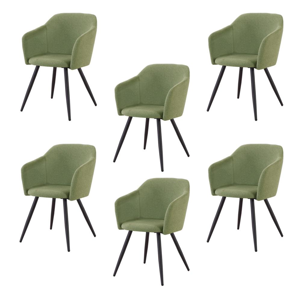 Купить Набор из шести стульев с обивкой из ткани зеленого цвета, inmyroom, Китай