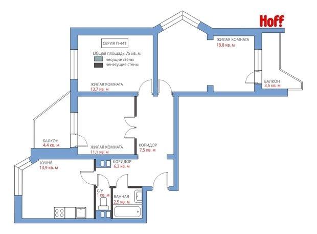 Фотография:  в стиле , Квартира, HOFF, Советы, Перепланировка, HOFF, Анастасия Киселева, 3 комнаты, П44т – фото на InMyRoom.ru