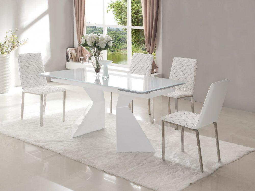 Купить Обеденная группа из раскладного стола и четырех стульев белого цвета, inmyroom, Китай