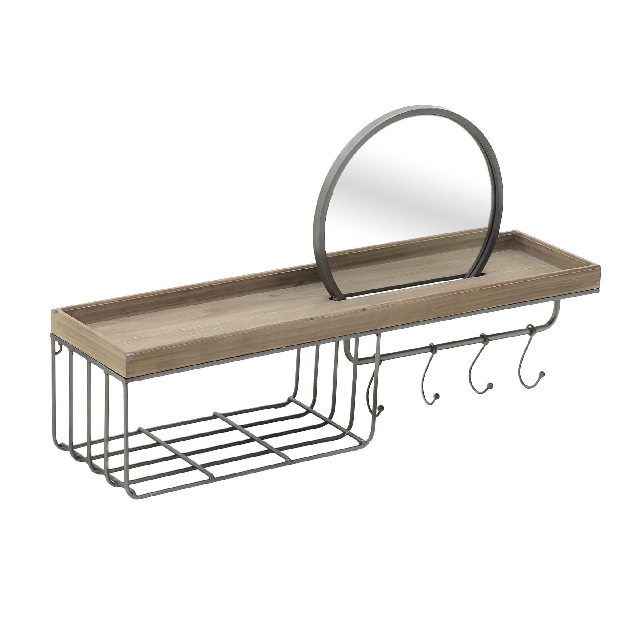 Полка с крючками из металла и дерева
