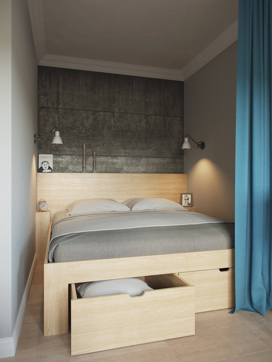 Фотография: Спальня в стиле Скандинавский, Малогабаритная квартира, Квартира, Проект недели, Москва, Ксения Драпей – фото на InMyRoom.ru