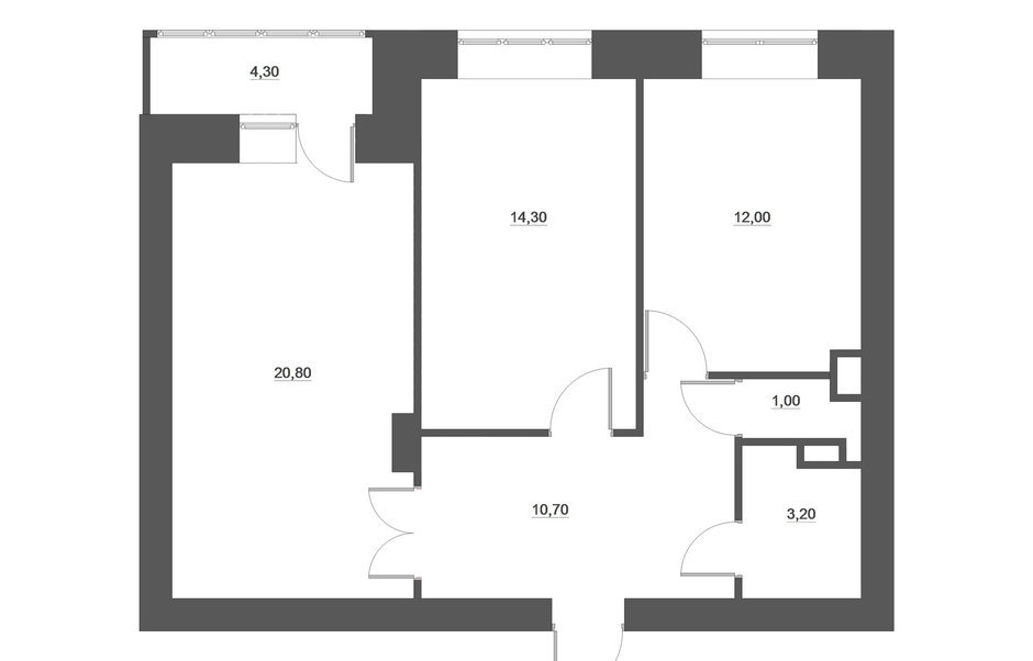 Фотография: Планировки в стиле , Скандинавский, Квартира, Белый, Проект недели, Желтый, Юлия Чернова, Смоленск, много ИКЕА, новостройка, Монолитный дом, 2 комнаты, 60-90 метров – фото на InMyRoom.ru