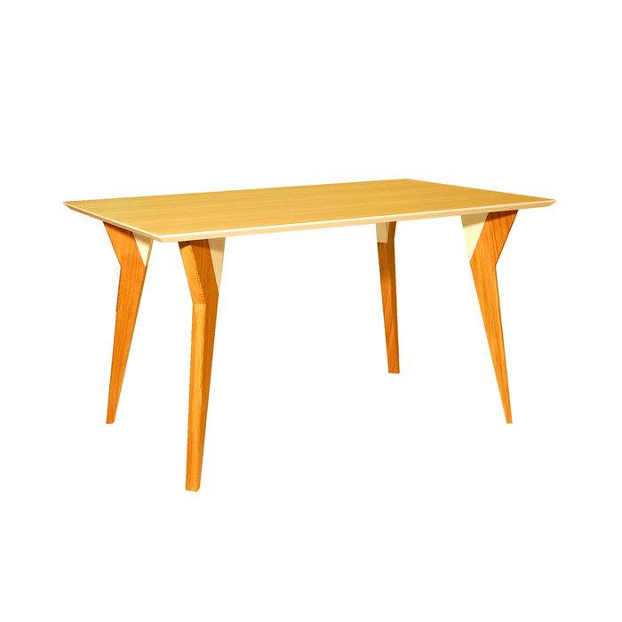 Желтый обеденный стол John 2 из натуральных материалов