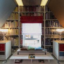 Фотография: Гостиная в стиле Современный, Спальня, Лофт, Интерьер комнат, Дача, Дачный ответ, Библиотека, Мансарда – фото на InMyRoom.ru