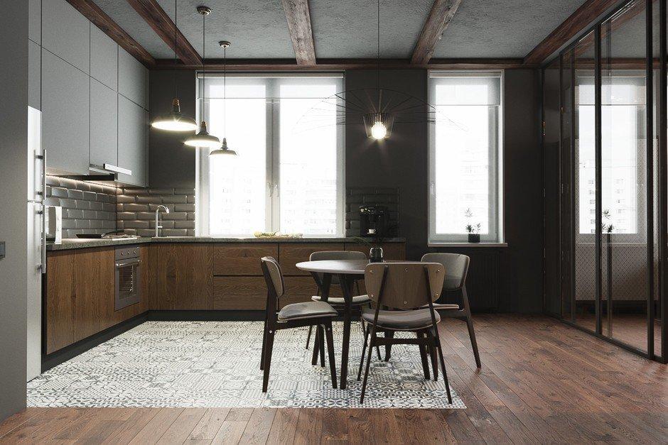 Фотография: Кухня и столовая в стиле Лофт, Квартира, Проект недели, Москва, Монолитный дом, 2 комнаты, 40-60 метров, CENS architects, ЖК «Технопарк» – фото на InMyRoom.ru