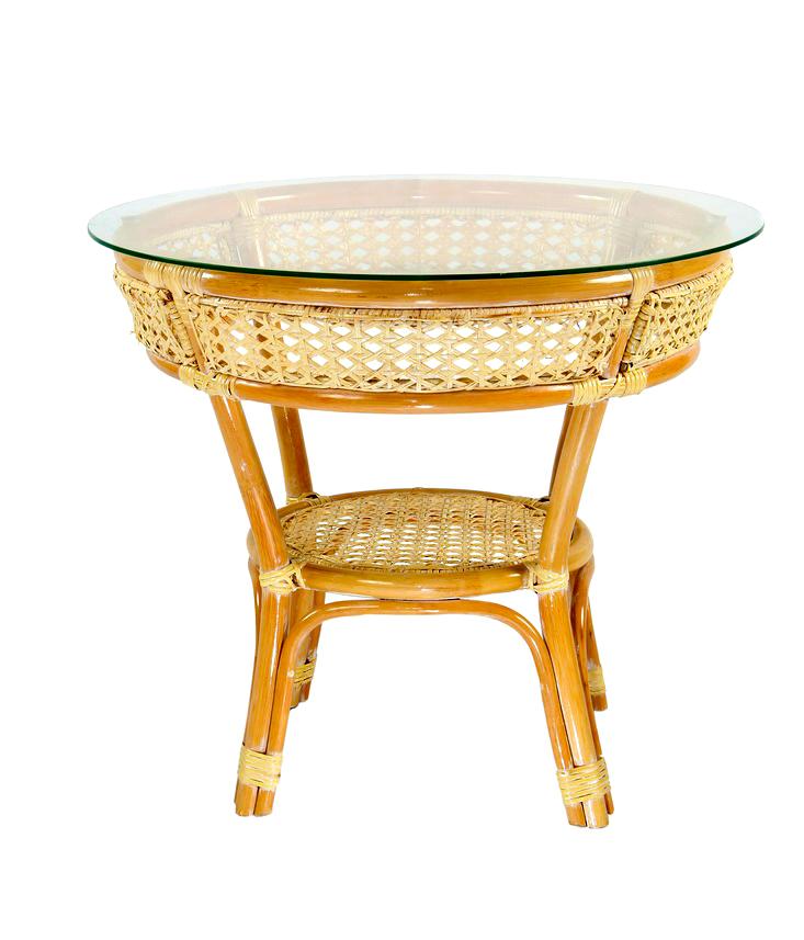 Купить Стол обеденный Java из натурального ротанга с круглой стеклянной столешницей, inmyroom, Индонезия