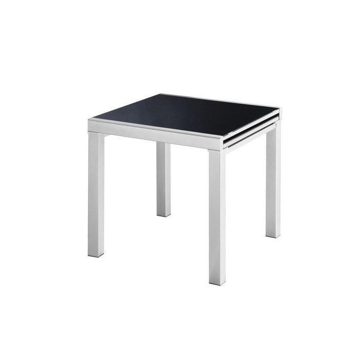 Квадратный обеденный стол с раздвижной столешницей из черного стекла