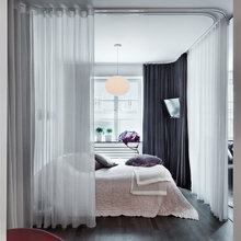 Фотография: Спальня в стиле Современный, Малогабаритная квартира, Квартира, Дома и квартиры, Советы, Перепланировка, Кровать, Подиум, Ширма – фото на InMyRoom.ru