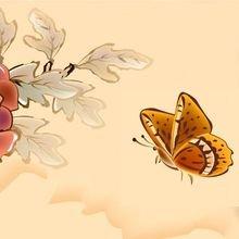 """Декоративная картина """"Цветок и бабочка"""""""