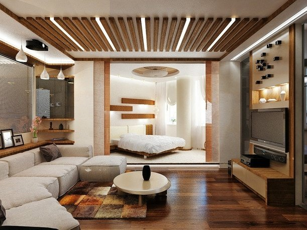 Фотография: Гостиная в стиле Современный, Спальня, Интерьер комнат – фото на InMyRoom.ru