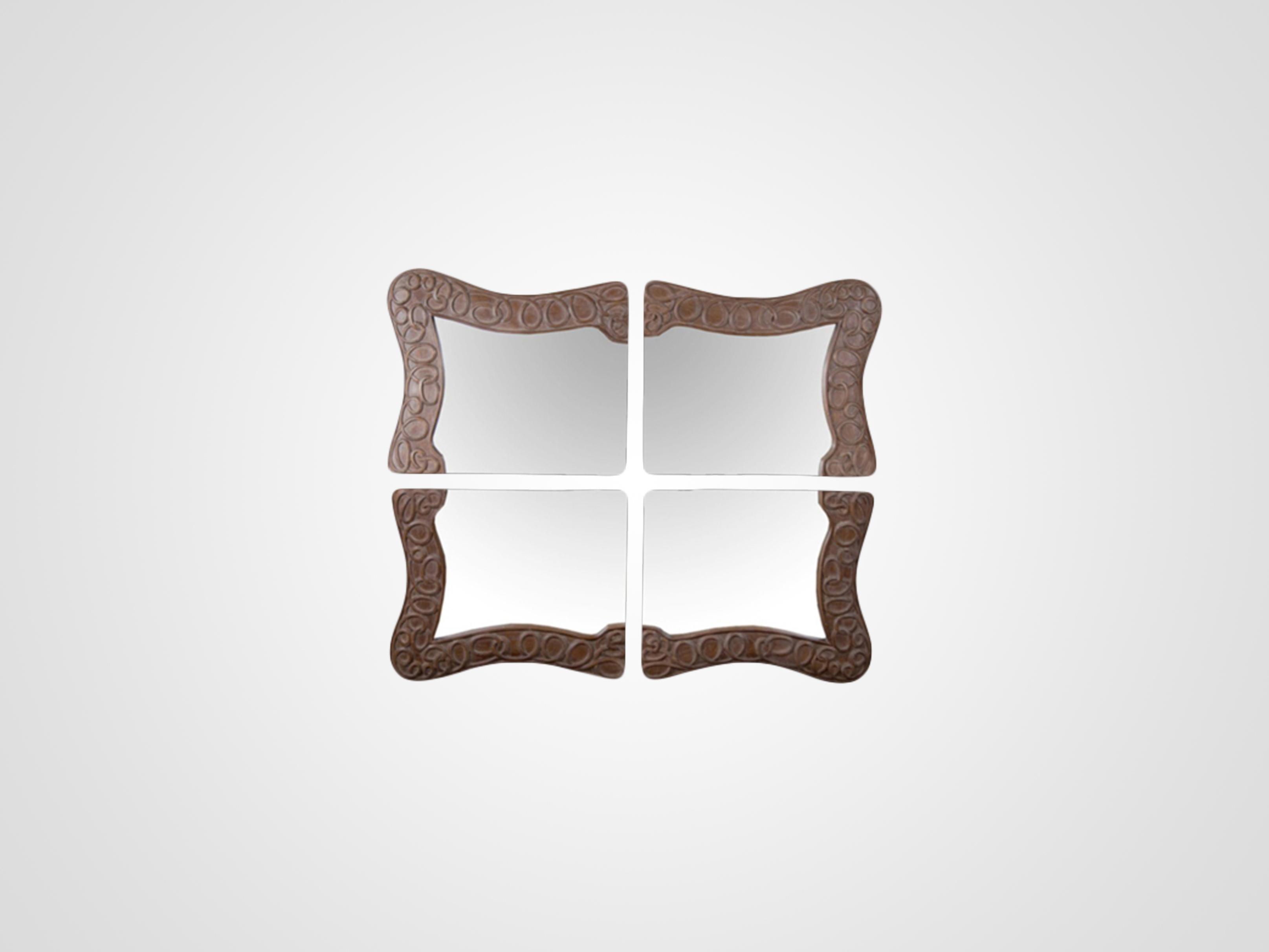 Купить Настенное зеркало из четырех частей резной раме из дерева махагони, inmyroom, Индонезия